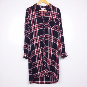 BLL Nyc Long Sleeve Hi-Lo Button Down Plaid Dress